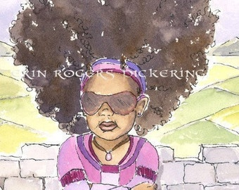 African American Modern Rapunzel with Curly Hair 8x10 Print