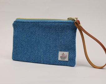 Pouch Blue Herringbone Harris Tweed Wristlet Evening Bag Clutch Bag Purse Bridesmaid Gift Cosmetic Bag Womens Bag Zipper Pouch Zip Bag