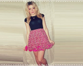 Pink Floral & Flirty Ruffles Mini Skirt - Summer Floral Skirt, Girly Skirt, OOAK Skirt in Size Small