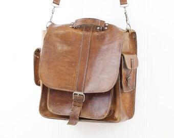 sac en cuir Vintage, besace en cuir, bandoulière pour homme, sac week-end en cuir marron, weekender, sac de travail, sac college