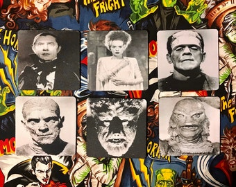 Horror Coasters-Universal Monsters-Frankenstein, Creature from the Black Lagoon, Bride, Dracula