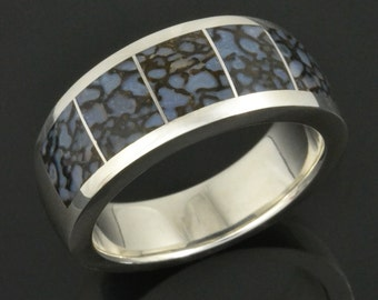 Blue Dinosaur Bone Wedding Ring In Sterling Silver, Fossilized Dinosaur Bone Wedding Ring, Dinosaur Bone Wedding Band, Gembone Ring