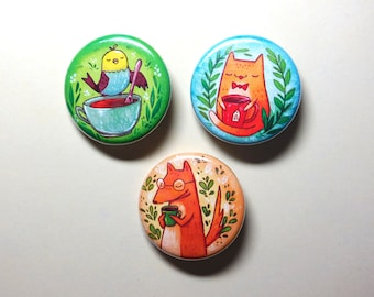 pet animals with tea and coffee pinback button pet