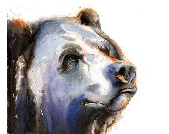 BEAR ART PRINT- bear watercolor, bear wall art, bear decor, bear print, grizzly bear painting, brown bear artwork, animal artwork