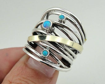 Blue Opal silver ring, 925 Silver & 9k yellow gold ring, wedding band, size 7, Israeli Jewelry, Fine Ring, Blue Stone Gold Ring (ms r)