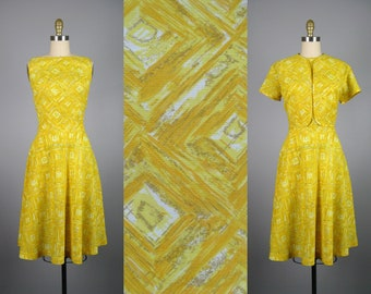 Vintage 1950s Yellow Dress and Crop Jacket Set 50s Atomic Square Print Dress Size M