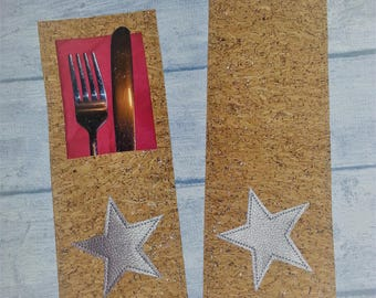 Cork Cutlery bags * Glitter * cutlery covers Christmas