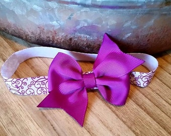 White with Violet Swirl FOE Infant Headband with Violet Bow