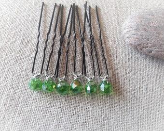 Bridal hair pin green bun pin green crystal wedding bridal hair bun - pin set of 6