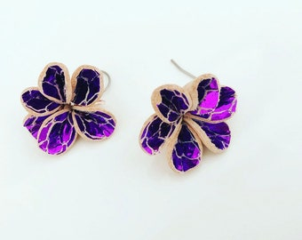 Metallic Magenta Leather Flower Earrings