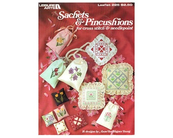 Sachets and Pincushions Cross Stitch Leaflet, Country Cross Stitch Leaflet, Floral Cross Stitch, Pincushion Pattern, by NewYorkTreasures