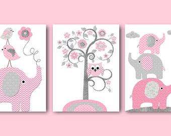 Playroom Art Digital Download Art Instant Download Kids Room Decor Baby Girl Nursery Art Download Digital Art set of 3 8x10 11X14 Pink Gray