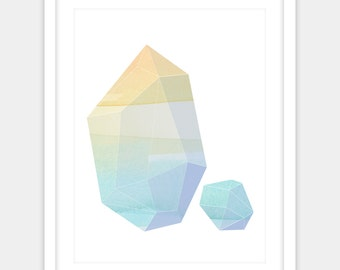 Digital print of two colorful geometric crystals in a tropical ocean palette of seagreen, turquoise, and sand