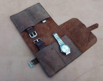 Leather Watch Roll, Watch case, Watch Pouch, Watch Organizer, Handmade,  tool roll, Travel Case, Pencil Case, Watch Roll Leather, leather