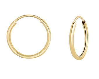 14k SOLID Yellow/White Gold Thin Endless Hoops. Endless Hoops 10mm. 12mm. 14mm. 16mm. 18mm. 21mm. 27mm. Thickness 1mm (.040)