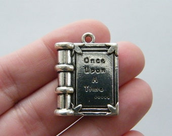 2 Once upon a time ... book pendants antique silver tone PT15