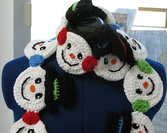 Snowman - Scarf Crochet Pattern - Snowman Heads Scarf Crochet Pattern - Scarf Pattern - Winter Holiday Pattern - Snowman Pattern