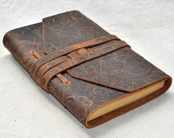 Dark brown flower leather  Journal  Diary Notebook (Free Stamp)