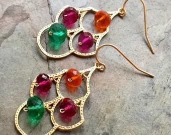 Vibrant Quartz Gemstone Earrings, Summer Punch, 14K Gold Fill French Ear Wires