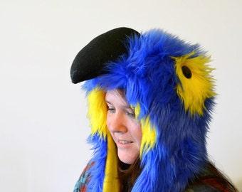 Hyacinth Macaw Scoodie. Spirit Hood. Parrot Costume. Bird Hat.