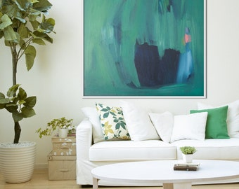 """GICLEE print, GREEN abstract print of painting with navy, blue, Modern painting print """"Dressing Table Pot"""""""