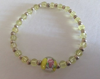 Yellow and Pink Rose Glass Bracelet