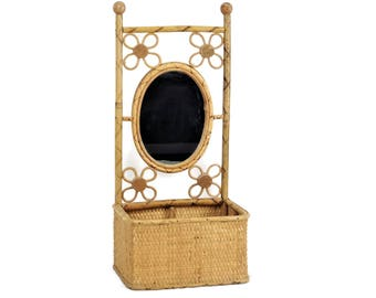 Vintage Wicker Rattan Mirror Planter Wall Hung or Free Stand