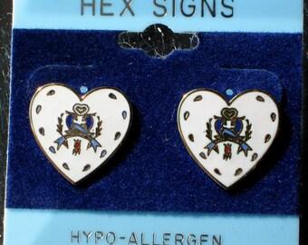 Hex Heart Vintage Earrings Hoffman Double Distelfink Birds Dutch Good Luck Signed Dutch Pennsylvania Original Card 1970's Gold White Enamel