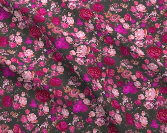 Pink Roses Fabric - Vintage Floral // Hot Pink Charcoal By Theartwerks - Pink Roses Cotton Fabric By The Yard With Spoonflower