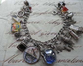 Vintage sterling Silver Ocean Theme Charm Bracelet