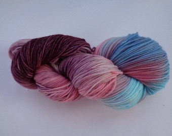Hand Dyed Yarn, Berries and Cream Revisited - SW Merino/Nylon Fingering Wt.