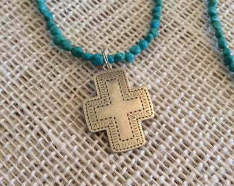 Sterling Silver Cross, Boho Necklace, Religious Necklace, Turquoise Beads, Coral Beads, Sterling Silver Cross, Long Necklace