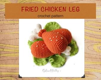 CHICKEN LEGS Crochet Pattern PDF - Crochet fried chicken leg Baked chicken Amigurumi chicken leg Amigurumi food patterns Play Food Chicken