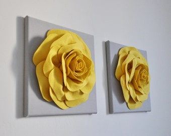 """Home Decor Rose Wall Hanging Set -Mellow Yellow Rose Set of Two on Gray 12 x12"""" Canvas Wall Art- 3D Felt Flower"""