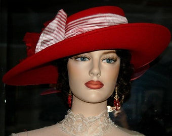 Kentucky Derby Hat Ascot Edwardian Hat Somewhere in Time Hat Downton Abbey Hat Titanic Hat Women's Red Hat - Lady Olivia