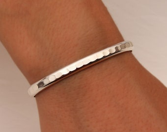 Thick Hammered Cuff Bracelet, Sterling Silver (352.s)
