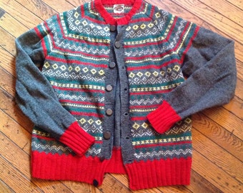 Vintage Men's All Wool Swiss Handmade Sweater Sz M