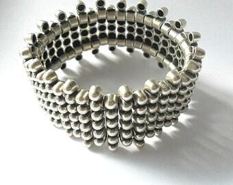 Silver bracelet, statement bracelet, boho metal bracelet, chunky wrap bracelet, stretch rocker bracelet, silver jewelry, metal jewelry, gift