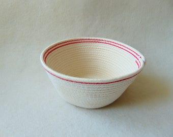 Cottage Rope Bowl, Storage Cotton Basket, Naturl Cotton Bowl, Coiled Storage Bowl,  Eco Friendly Vegan Gifts