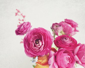 "Flower still life - ranunculus - botanical print - bedroom wall art - flower photography - floral wall art - pink white decor ""Happy Days"""