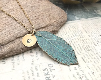 Feather Necklace, Brass Feather Necklace, Boho Necklace, Verdigris Feather Necklace, Initial Necklace, Hand stamped Necklace