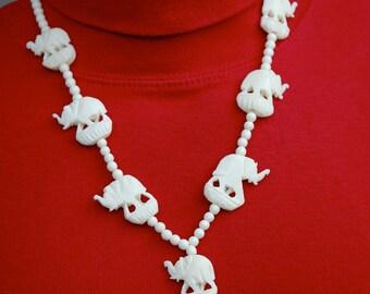 Carved Bone Elephants Necklace Vintage