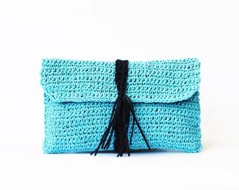 Aqua paper raffia crochet clutch straw beach bag summer woven clutch bag raffia crochet bag straw clutch bag flap clutch purse raffia bag