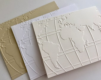 Blank Note Cards, Embossed Cards, Greeting Cerds, Boxed Cards set, Note Card Set, Blank Note Cards, Thank You Cards Set, World Traveler Card