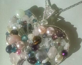 Heart pendant, multi gemstone heart pendant, large heart pendant, mixed gemstones, unique pendant, pink tones heart, Valentine's gift