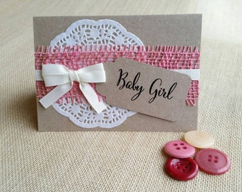 Handmade Baby girl card made with recycled card & envelope. Blank inside