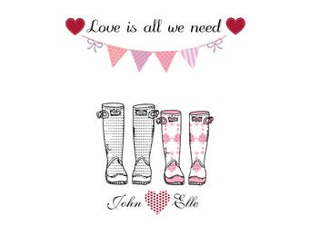 Personalised Family Print Wellies Boots Print Valentines Wedding Anniversary Print Love
