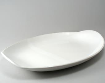 Serving Platter-Large Oval-Pottery- Handmade Tableware-Stoneware-Tray-Ceramic Platter-White