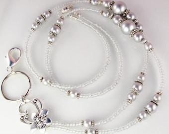 Gray Pearl Beaded Lanyard, ID Badge Holder, breakaway lanyard, gifts for her
