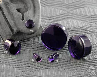 "Single Flare Royal Purple Glass Plugs 6g, 4g, 2g, 1g, 0g, 10mm, 7/16"", 1/2"" (12.5mm), 9/16"", 5/8"", 3/4"", 7/8"", 1"""